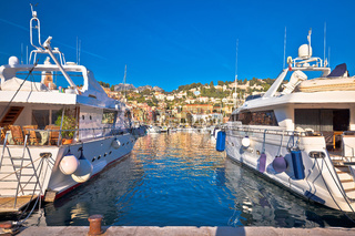 Menton. Luxury yachting harbor of Menton at Cote d Azur view