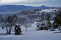 Winter landscape near Beuren with a view of Hohenzollern Castle,