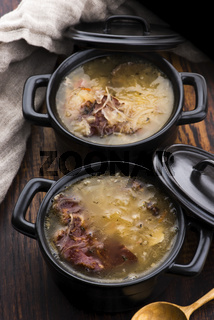 Cabbage soup with meat. Farm-style