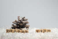 Small wooden blocks with the German inscription Merry Christmas in the snow