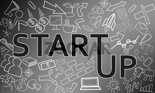 Start up business concept with creative drawings