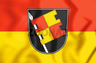 3D Flag of Wuerzburg (Bavaria), Germany. 3D Illustration.