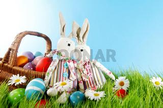 Easter basket on meadow