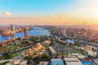 Cairo downtown and the Nile from above, sunset view, Egypt