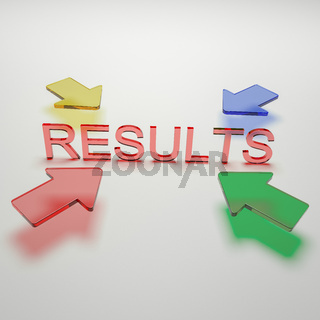 Four arrows pointing on the word results