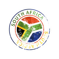 South Africa sign, vintage grunge imprint with flag on white