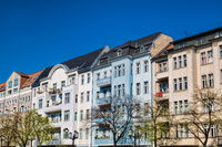 Berlin, Germany - 04/09/2019 - renovated row of houses in charlottenburg