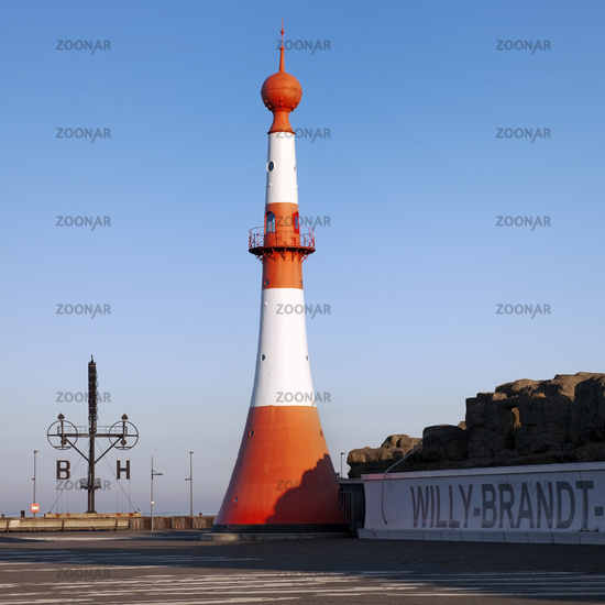 Willy-Brandt-Platz with lighthouse Unterfeuer and semaphore at the new harbor, Bremerhaven, Germany