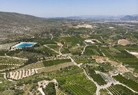 Aerial view Montesa countryside with agricultural fields, Spain