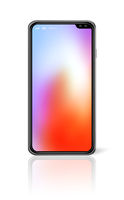 All-screen colorful smartphone mockup isolated on white. 3D render
