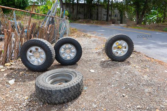 Panama Boquete car wheels in the courtyard of a car mechanic