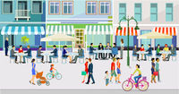 live in the city with cafes and restaurants