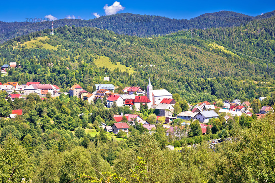 Mountain town of Vrbovsko green landscape view