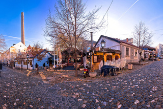 Belgrade. Famous Skadarlija old cobbled streets in historic Beograd