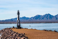 A black and white Lake Havasu Lighthouse in Arizona