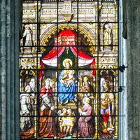 Stained Glass window in the church o in Ghent