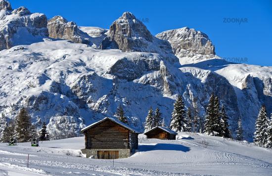 Sella mountain range in winter, Corvara, Alta Badia, Dolomites, South Tyrol, Italy