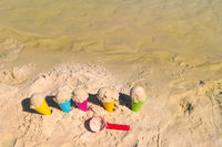 Plastic toys for ice creams at the beach