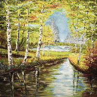 painting forest glade river creek lake water trees