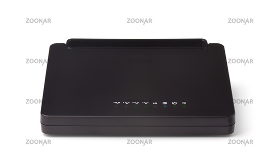 Front view of black ethernet router