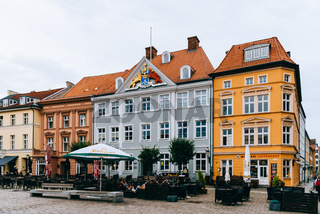 Terrace of bar in the old town of Stralsund