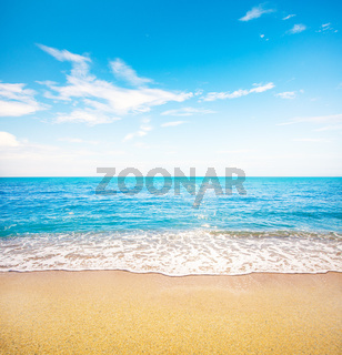 beautiful tropical beach and beautiful waves