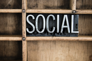 Social Concept Metal Letterpress Word in Drawer
