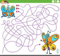 educational maze game with cartoon butterflies