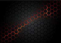 Black Hexagonal Pattern on Red Magma Background