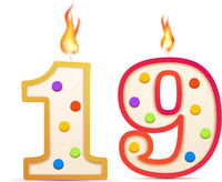 Nineteen years anniversary, 19 number shaped birthday candle with fire on white