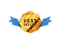 Bright golden badge with blue tape, glossy best seller icon on white
