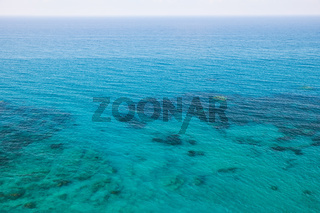 The blue clear water of Mediterranean sea. Cyprus