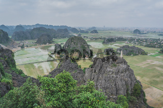 Beautiful Limestone Mountains And Flooded Rice Paddies From Hang Mua