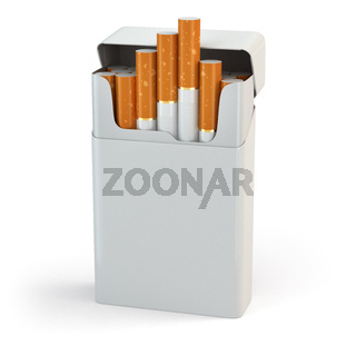 Open full pack of cigarettes isolated on white background