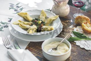 Delicious italian fresh Casoncelli