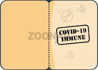 Immunity Passport With Stamp Vector