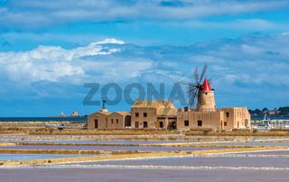 Windmill at Marsala salt pans, Sicily, Italy