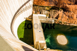 High angle view of the arch-gravity Glen Canyon dam used for electricity generation on the Colorado River
