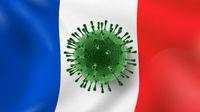 Bacteria of Coronavirus on the background of French flag.