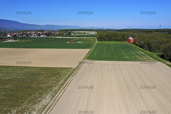 Pattern of green and fallow fields, Chavanne-de-Bois, Canton of Geneva, Switzerland