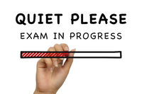 Quiet please exam in progress handwritten poster banner on white background with loading bar - Stude