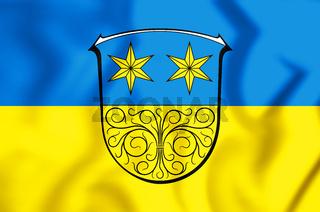 3D Flag of Michelstadt (Hessen), Germany. 3D Illustration.