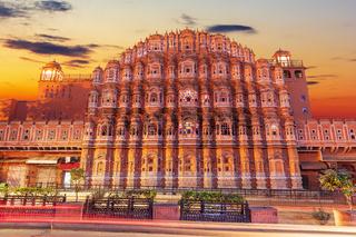 Hawa Mahal palace in Jaipur, India, beautiful sunset view