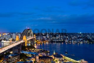 Dramatic panoramic night photo Sydney harbor