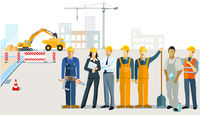 Construction management with construction workers and architect