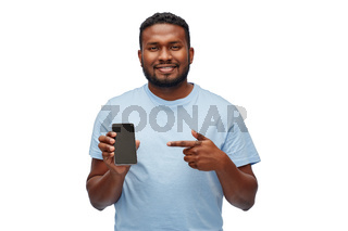 happy african american man with smartphone