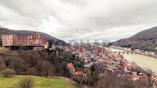 Panoramic View on Skyline and Heidelberg Castle, ger. Schloss Heidelberg with Valley of Heidelberg, Baden-Wuerttemberg, Germany