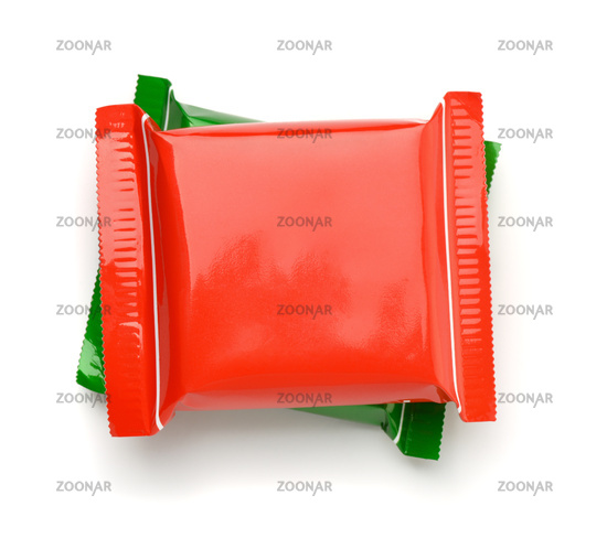 Top view of red and green food plastic bags