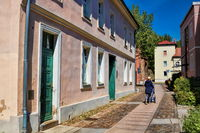 Bernau near Berlin, Germany - 04/30/2019 - old town with hangman's house