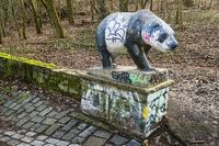 Bear sculpture in Volkspark Prenzlauer Berg, Berlin, Germany